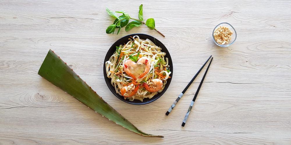 Salade thaï à l'aloe vera et aux crevettes